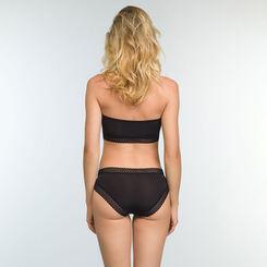 Women's Trendy Micro Black Microfiber Bandeau Bra, , DIM