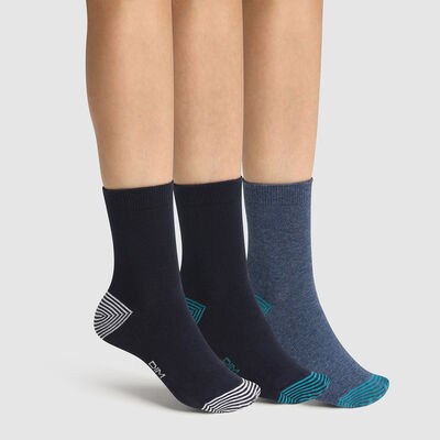 Pack of  3 pairs of mix and match Marine Cotton Style children's socks, , DIM