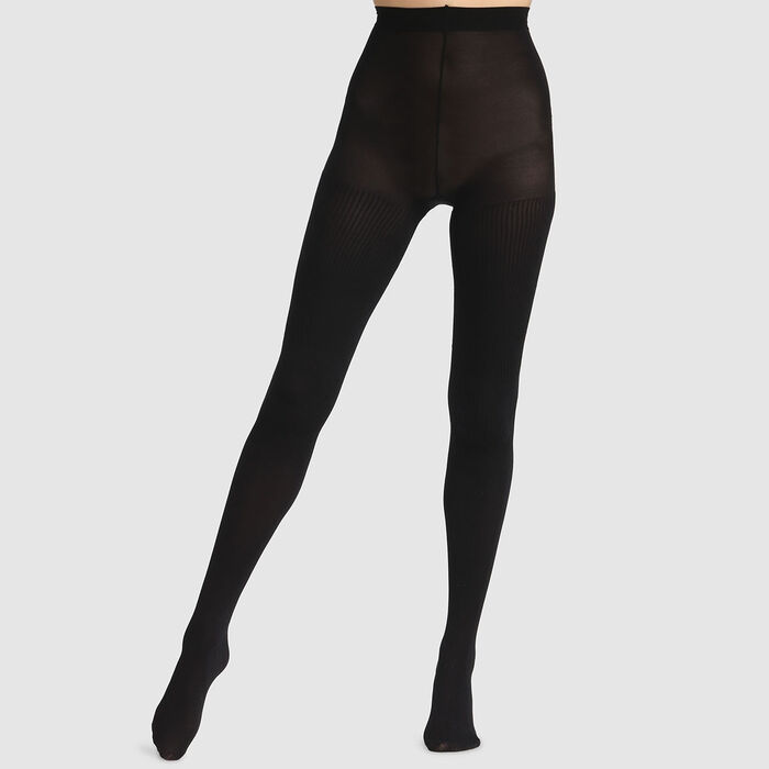 Collant fantaisie côtelé noir Dim Style 50D, , DIM