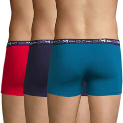 3 pack antique blue, red and navy blue trunks - Coton Stretch, , DIM