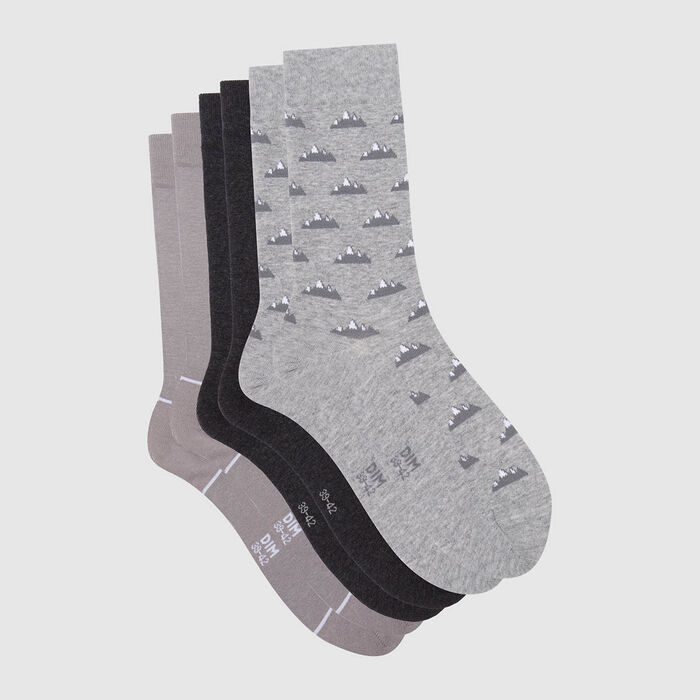 Cotton Style pack of 3 pairs of men's socks with mountain print Grey, , DIM