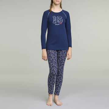 DIM Girl 2-piece long-sleeved pyjama pack Sailor Blue, , DIM