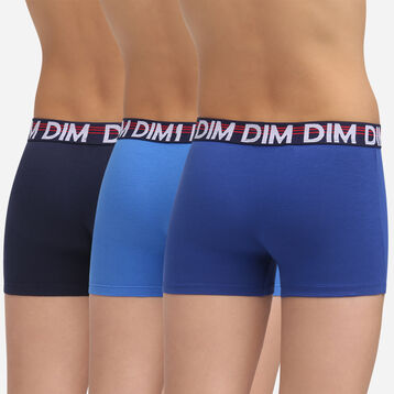 3 pack ultramarine blue stretch cotton trunks Dim Boy Promo Eco, , DIM