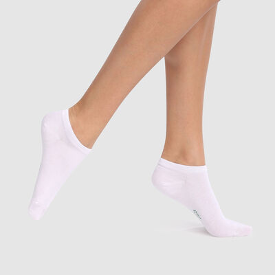 Green by Dim 2 pack ankle socks in white biodegradable lyocell cotton, , DIM