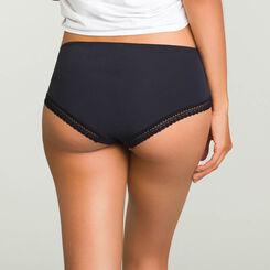 Black microfiber shorty Micro Lace Panty Box, , DIM