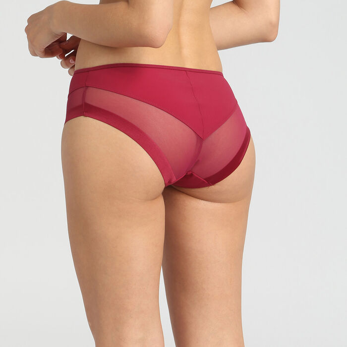 Dim Generous varnish red microfibre and tulle briefs, , DIM