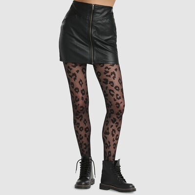 Panti de rejilla fino estampado leopardo negro Dim Style 73D, , DIM
