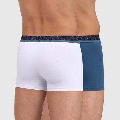 Lot de 2 boxers blanc bleu minuit avec ceinture imprimé pois Mix & Dots, , DIM