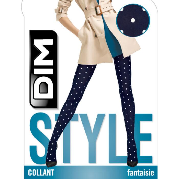 Collant opaque pois rétro bleu marine Style de Dim 40D, , DIM