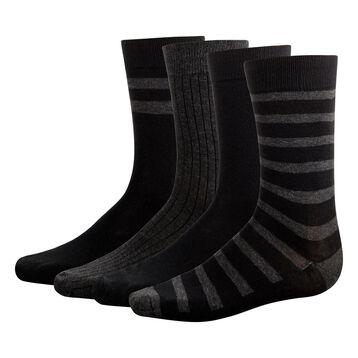 4 pack men's calf socks in Black and Anthracite Grey Eco Dim, , DIM