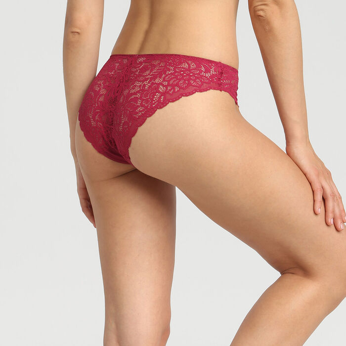 Dim Sublim Dentelle varnish red lace and microfibre briefs, , DIM