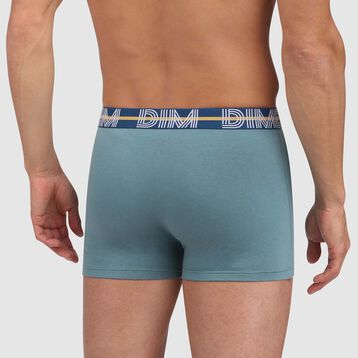 Dim Powerful stretch cotton trunks in vivid green with green waistband, , DIM
