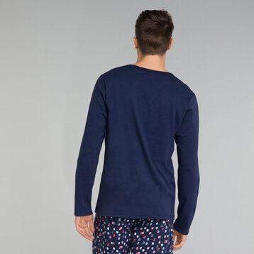 T-shirt manches longues bleu marine poche imprimé - Fashion, , DIM