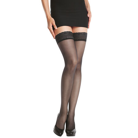 4f4372bb2 DIM Up Sublim 15 sheer no-dig hold ups with a satin sheen in black
