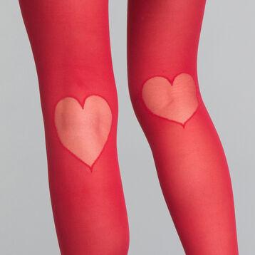 Collant fantaisie motif cœur rouge intense 20D - Dim Style, , DIM