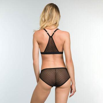 Non-wired triangle bra Velvet Bow Tie Print Chic Line, , DIM