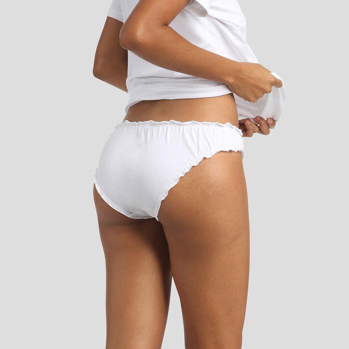 Culotte en coton blanche broderie Mimosa Édition Fête des Mères, , DIM