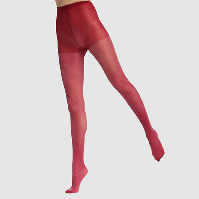 Dim Style 23D fancy tights in dark pink lurex, , DIM