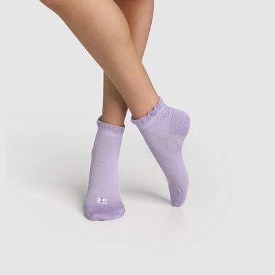 Сиреневые женские носки с принтом шотландская полоска и оборкой Dim. Сделано во Франции, , DIM