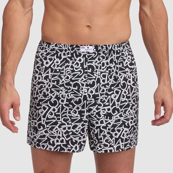 Black loose boxer shorts with letters print Agnes B limited edition , , DIM