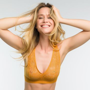 Bralette in yellow golden lace - MOD de Dim, , DIM