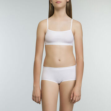 2 Pack DIM Girl organic cotton bras in white, , DIM