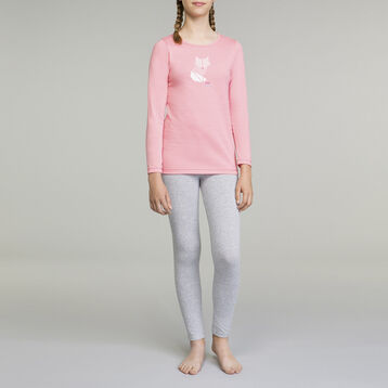 DIM Girl 2-piece long-sleeved pyjama pack Crocus Pink and Grey, , DIM