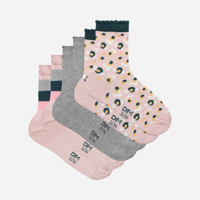 Pack of 3 Pairs of Pink Grey Camouflage Kids Cotton Style Socks, , DIM