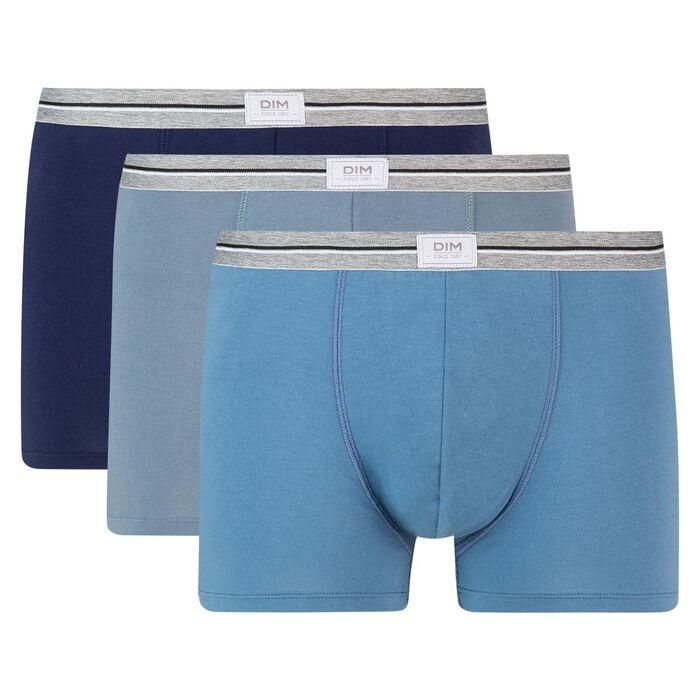 Lot de 3 boxers bleu jean gris en coton stretch résistant Ultra Resist, , DIM