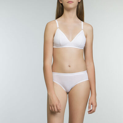 DIM Girl White Bra with Removable Padding in cotton, , DIM