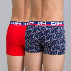 Set of 2 Eco DIM Boy sailor blue-print and red boxers - DIM