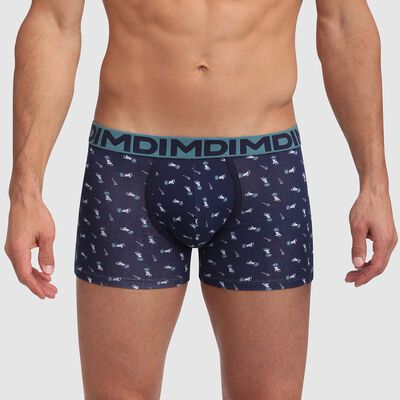 Boxer bleu coton stretch imprimé transat et ceinture verte Mix and Fancy, , DIM