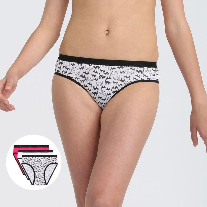 Lot de 3 culottes fille coton stretch motif chat Noir Rose Les Pockets, , DIM