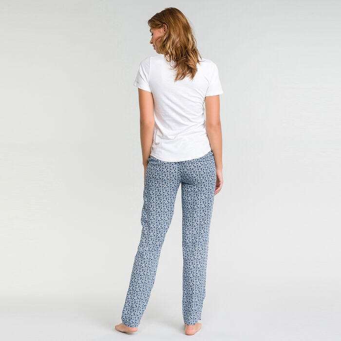 Pantalon pyjama bleu à imprimé fleuri blanc - Fashion, , DIM
