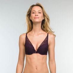 Sujetador halter push-up violeta Sublim Dentelle , , DIM