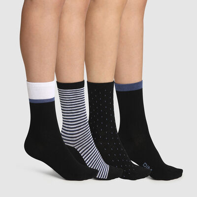 Pack of  4 pairs of women's socks with black polka dots stripes EcoDim Style, , DIM