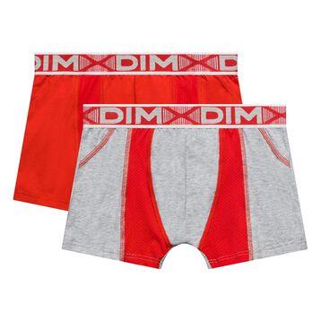 2 pack mottled grey and poppy red trunks for Boy - 3D Flex Air, , DIM