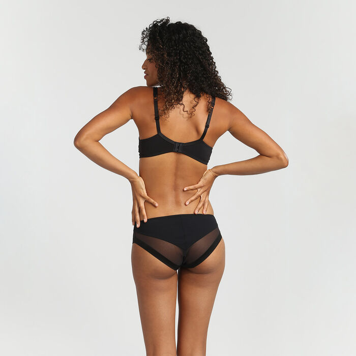 Dim Generous black microfibre and tulle briefs, , DIM