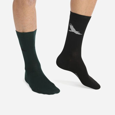 Cotton Style Pack of 2 pairs of Green men's socks with eagle pattern, , DIM