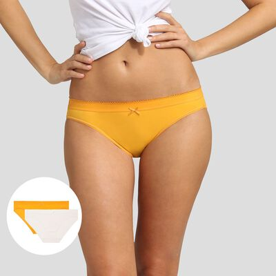 2 pack briefs in golden yellow and pearl Dim Les Pockets Microfiber, , DIM