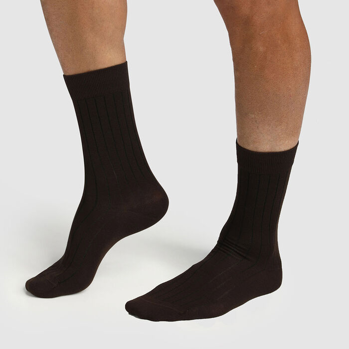 Pack of  2 pairs of Lyocell brown ribbed socks for men Green by Dim, , DIM