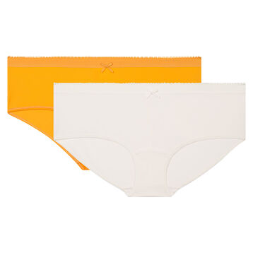 2 pack shorties in golden yellow and pearl Dim Les Pockets Microfiber, , DIM