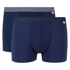Mix and Print 2 pack stretch cotton trunks in denim blue with printed waistband, , DIM