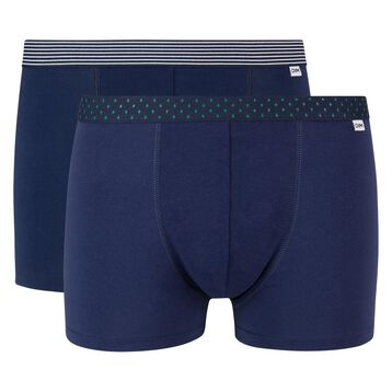Lot de 2 boxers bleu denim coton stretch ceinture imprimée Mix and Print, , DIM