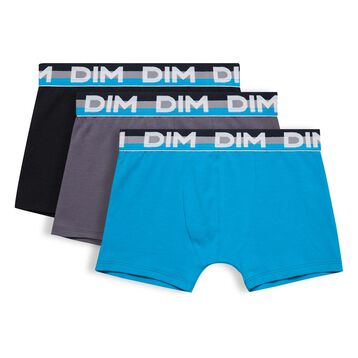 Set of 3 DIM Boy black, blue and grey boxers - DIM