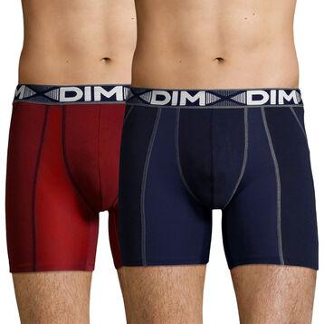 2 Pack men's long trunks Red Chalk and Denim Blue 3D Flex Air, , DIM