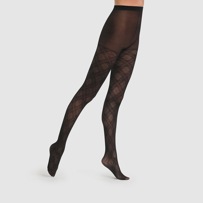 Dim Style 43D transparent argyle black tights, , DIM