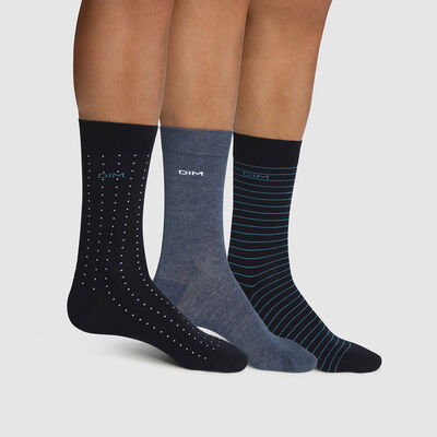 Pack of  3 pairs of men's cotton striped socks Blue Dots Cotton Style, , DIM