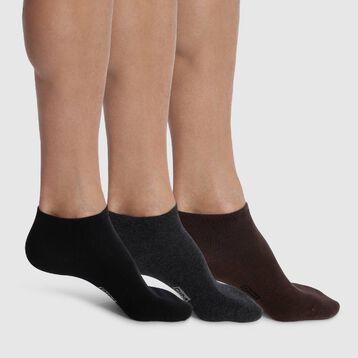 Lot de trois paires de socquettes pour homme en coton Basique Coton, , DIM