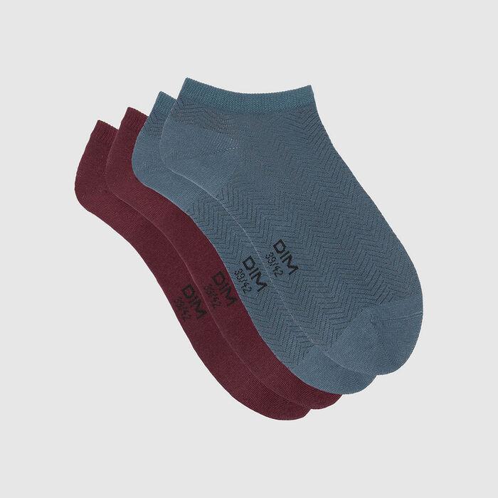 Lot de 2 paires de chaussettes basses motif chevron Bleu Coton Style, , DIM